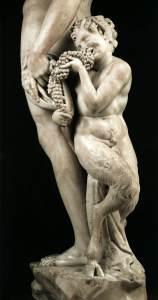 detail Bacchus (Dionysos) met Satyr