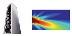 """Line array Vertus MLA de FBT y patrón de radiación que se logra gracias a su tecnología """"digital beam steering"""" combinada con motores de paso."""