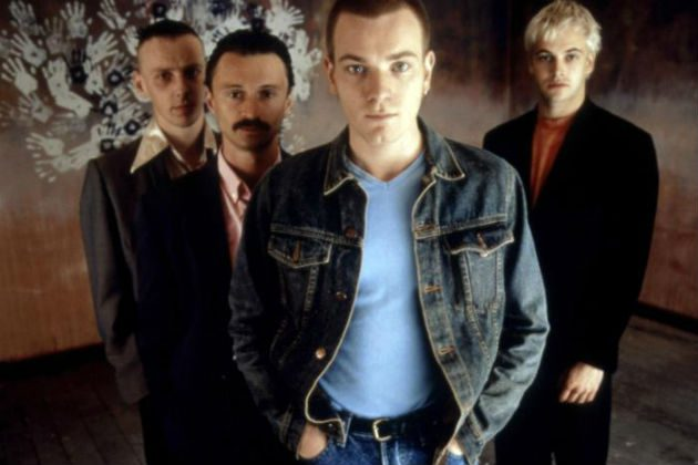 Fotografía de la película de Trainspotting. De izquierda a derecha: Spud, Begbie, Renton y Sick Boy.