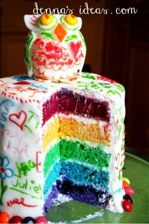 Rainbow Layered Graffitied Owl Cake, great for a teen or tween birthday