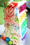 slice of Graffitied Rainbow layer cake