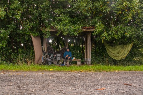 drying-the-tent-outside-Santiago-airport