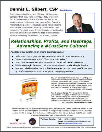 CustServ Dennis Gilbert CSP keynote