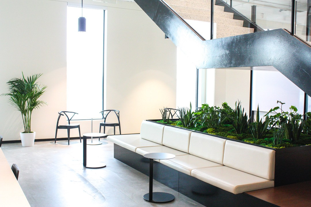 Planted seating area under the stairs