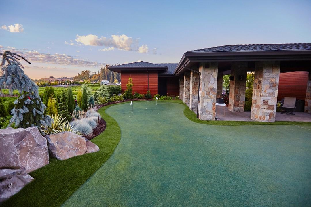 golf putting green in landscape