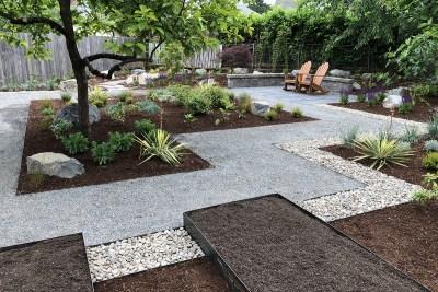 raised garden beds in landscape