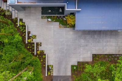 residential landscaping drone view of driveway in portland
