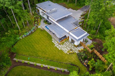 residential landscaping portland home drone view