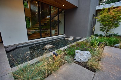residential landscaping water feature in portland home