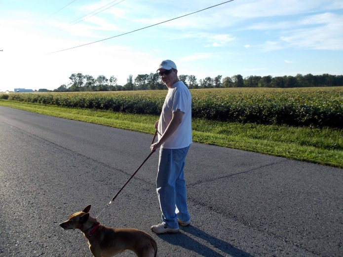I walk the smaller dog Juno