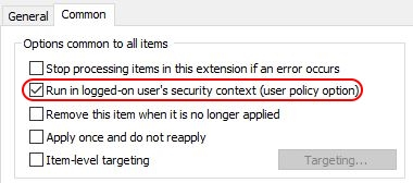 Configuring Regional Settings and Windows locales with Group Policy - Group Policy Preference common tab run in users context