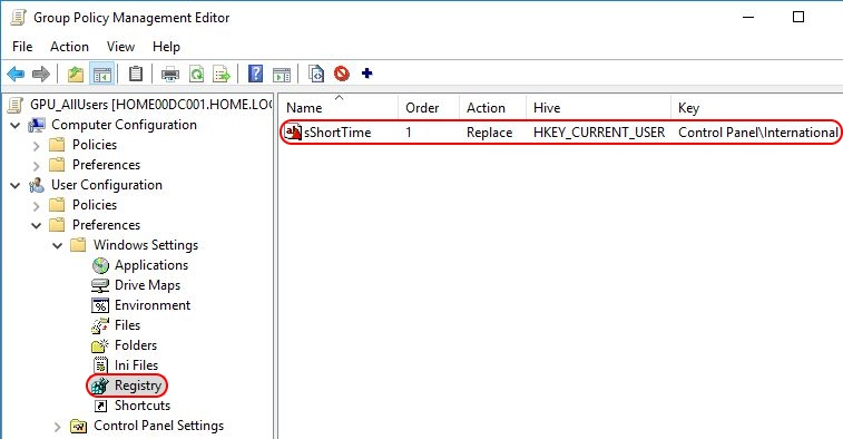 Configuring Regional Settings and Windows locales with Group Policy - Group Policy Preference short time configured