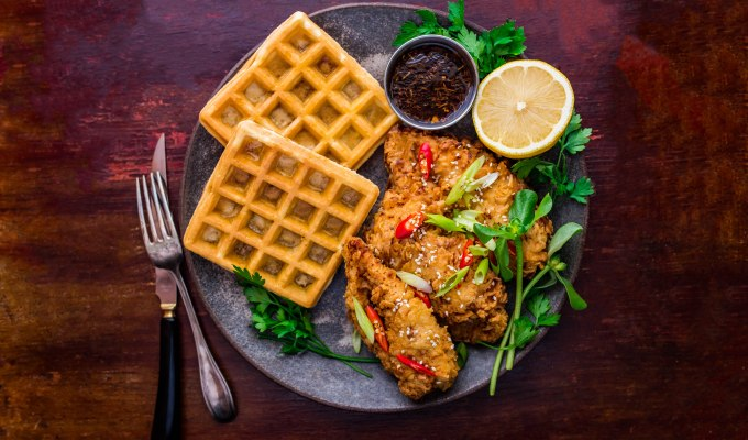 Fried Chicken & Waffles with Maple Garlic Dipping Sauce