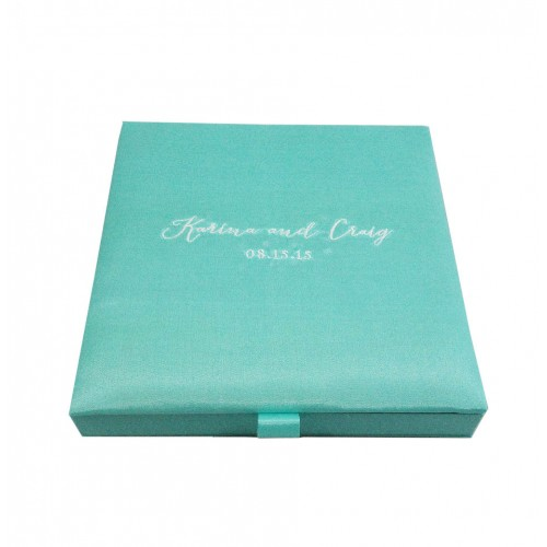 Modern Aqua Blue Wedding Invitation Box With Silk Monogram Embroidery