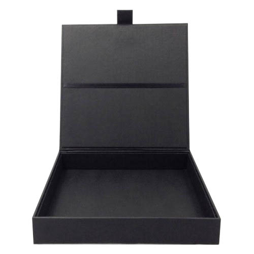 Black Paper Wedding Invitation Box Hinged Lid Handmade Cardboard Covered With Quality
