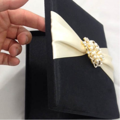 Opened Silk Wedding Box With Crown Pearl Brooch