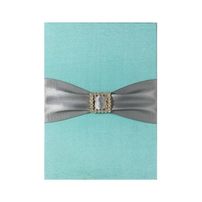 Aqua Blue Luxury Wedding Invitation Pad With Pocket Card Holder