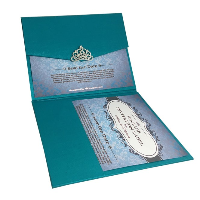 Light Teal Color Luxury Silk Pocket Fold Design For Wedding Invitation Cards
