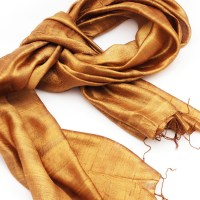 Silk Shawl In Goldenrod Color Made With 100% Pure Thai Raw