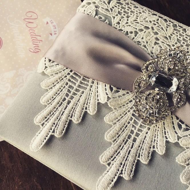 Lace Wedding Invitations Featuring Silver Dupioni Silk Ivory Vintage Crystal Brooch