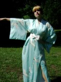 cranes on kimono robe