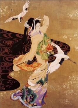 painting of kimono cranes