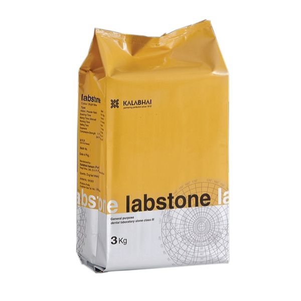 Kalabhai Labstone is a type III model stone designed for ultimate versatility. Labstone is recommended for use in models and flasking, in the production of full or partial dentures, and in basing crown and bridge models. Creamy mix, moderate compressive strength, and superior hardness, are all characteristics of this unique formula.