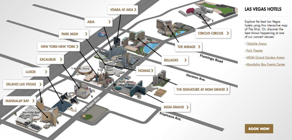 Las Vegas Strip Map for MGM Hotels