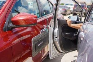 Impact resistant door panels for cars. Car door guards for parking lot