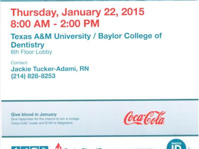 Jan. 22, 2015 Blood Drive Flier