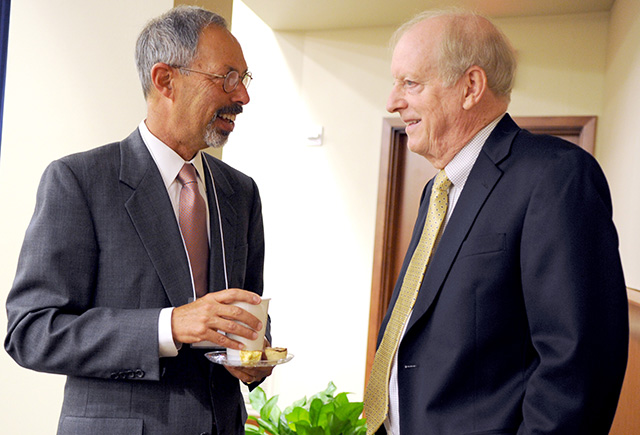 Dr. Lawrence Wolinsky, TAMBCD dean, left and Cole, dean emeritus