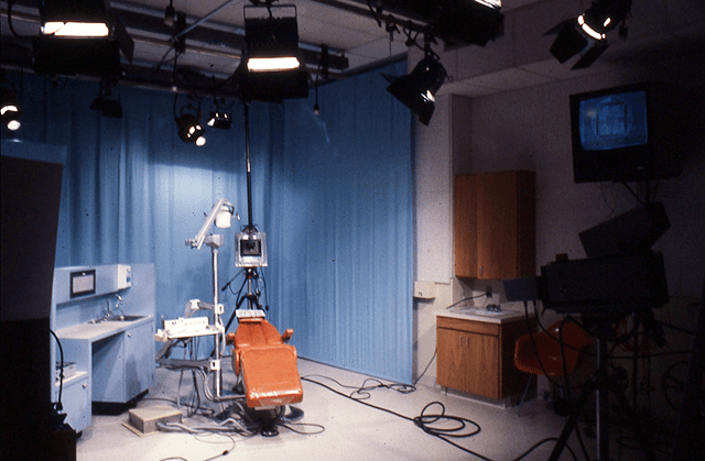 This image, taken from a slide in Scott Frederick's office, shows the photo studio, prepped to film a dental procedure.