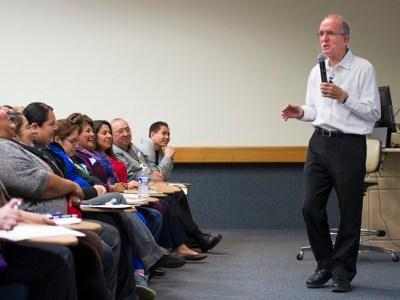 Tony Brigmon talks to TAMBCD staff.