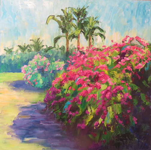 """""""Bougainvillea,"""" photographed while on vacation at Sanibel Island, Florida, and later painted at home in Dallas."""