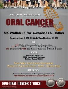 Flyer with details on Oral Cancer Foundation 5K Walk/Run