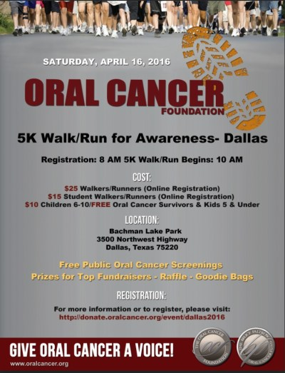 Flyer with details on Oral Cancer Foundation 5K Walk/Run