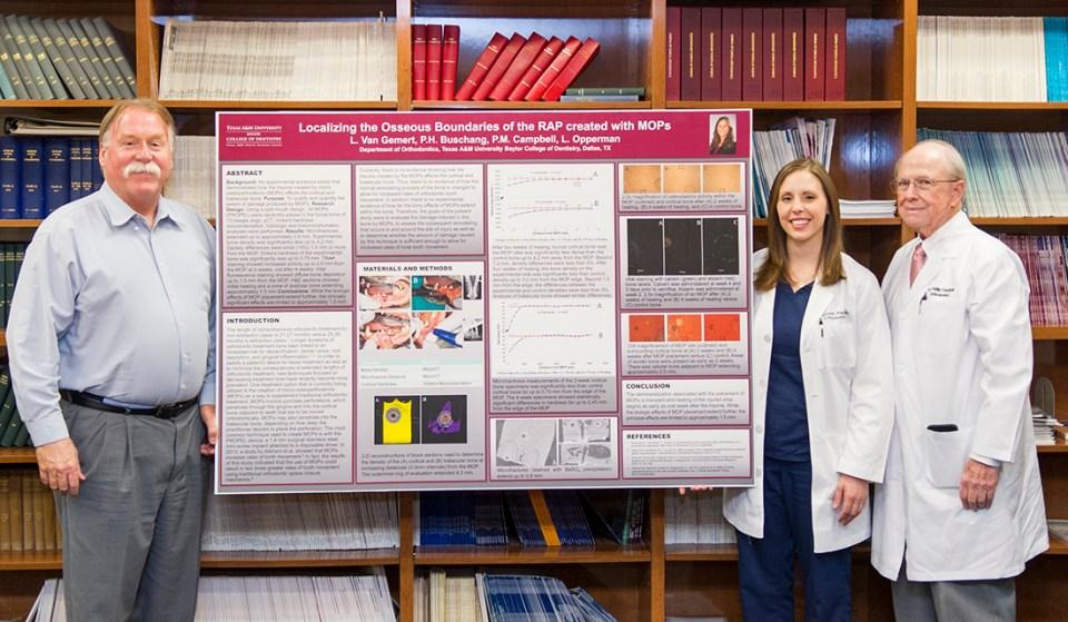 Left to right: Dr. Peter Buschang, Dr. Lauren Van Gemert and Dr. Phillip Campbell with Van Gemert's research poster