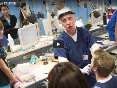 Dr. Amp Miller III talks with dental students during one of their preclinical lab courses.