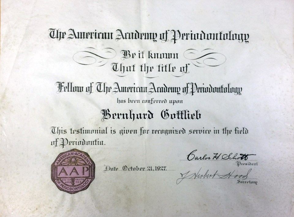 Gottlieb's American Academy of Periodontology fellowship certificate