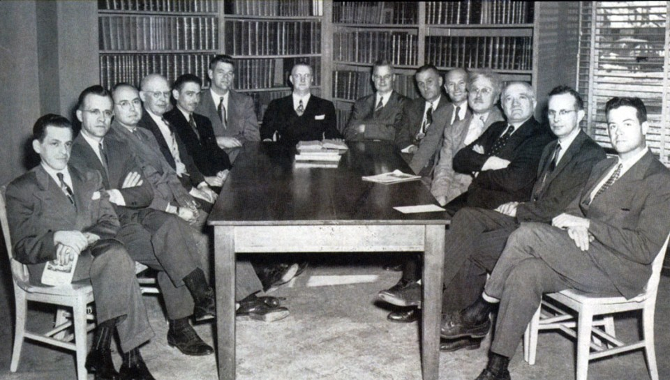 Gottlieb, third from right, with fellow department chairs at the dental college in 1948.