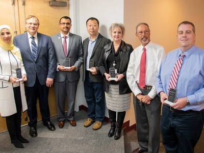 Faculty Award Recipients with Dean Wolinsky