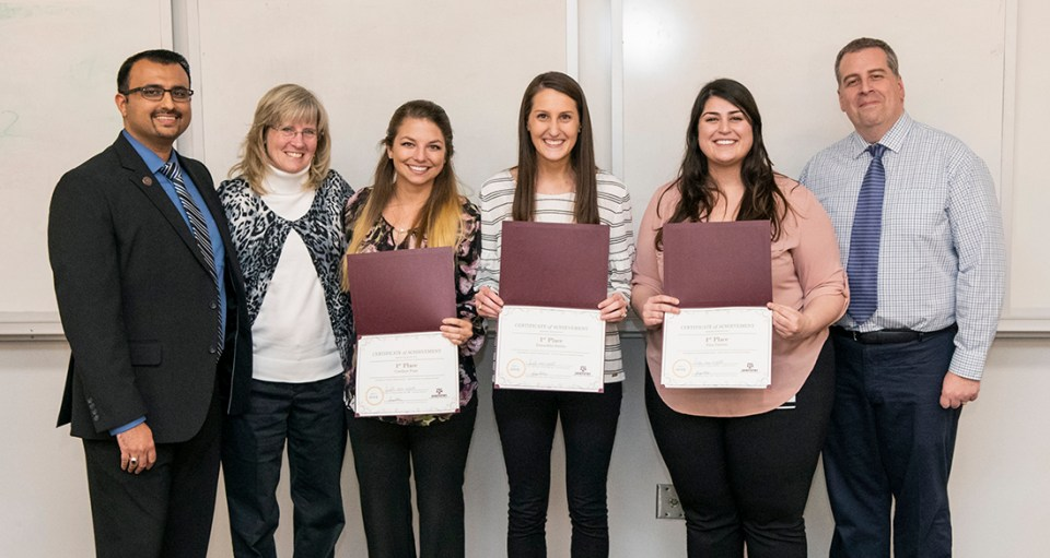 From left: Dr. Faizan Kabani, Kathy Muzzin, Candace Pope, Samantha Barkis, Tina Tabrizi and Dr. Bruno Ruest at Research Scholars Day.