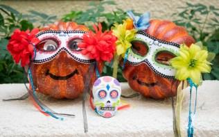 pumpkins carved for dios de los muertos