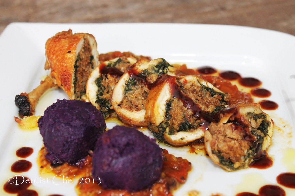 Chicken Ballotine Recipe with Spinach Minced Chicken and