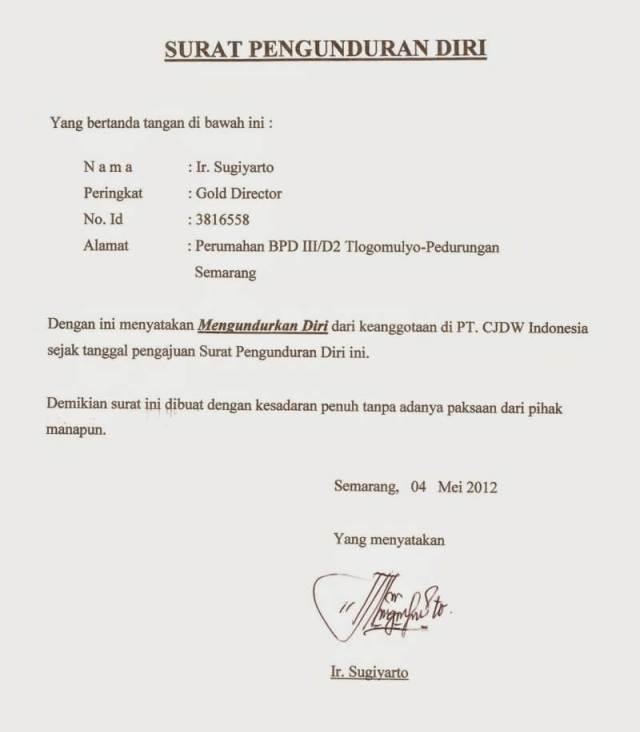 Contoh Surat Pengunduran Diri Dari Jabatan Lalod