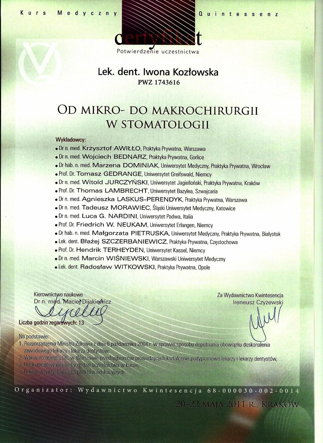 dentysta warszawa DENTYSTA WARSZAWA – DENTOKLINIKA Dentysta warszawa Iwona Kozlowska Certyfikat22 2