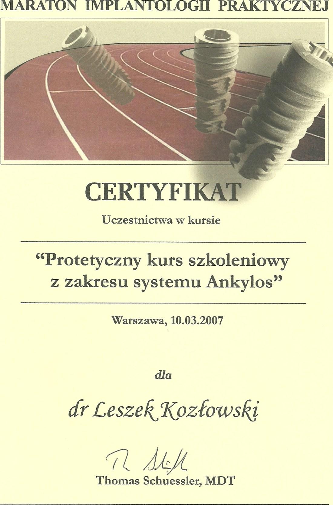 dentysta warszawa DENTYSTA WARSZAWA – DENTOKLINIKA Dentysta warszawa Leszek Kozlowski Certyfikat 13
