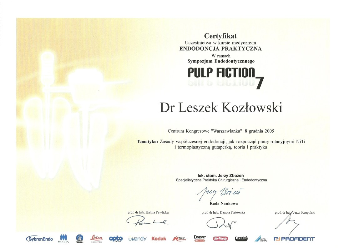 dentysta warszawa DENTYSTA WARSZAWA – DENTOKLINIKA Dentysta warszawa Leszek Kozlowski Certyfikat 15