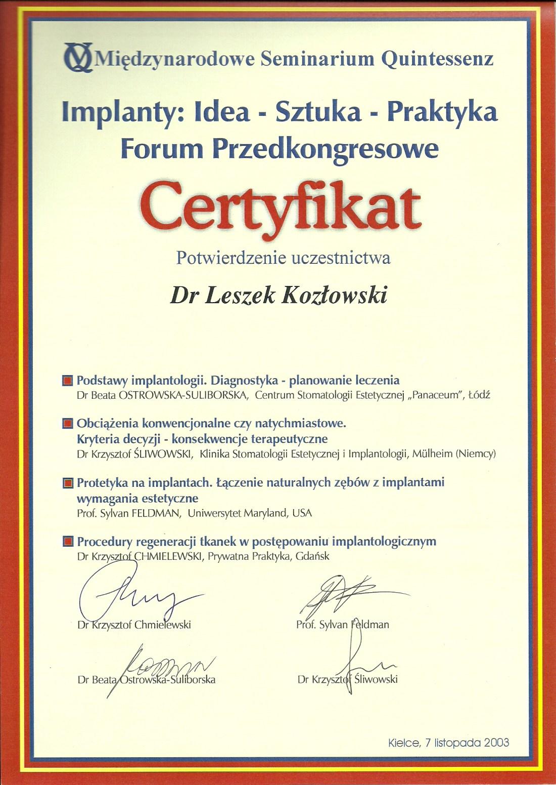 dentysta warszawa DENTYSTA WARSZAWA – DENTOKLINIKA Dentysta warszawa Leszek Kozlowski Certyfikat 17