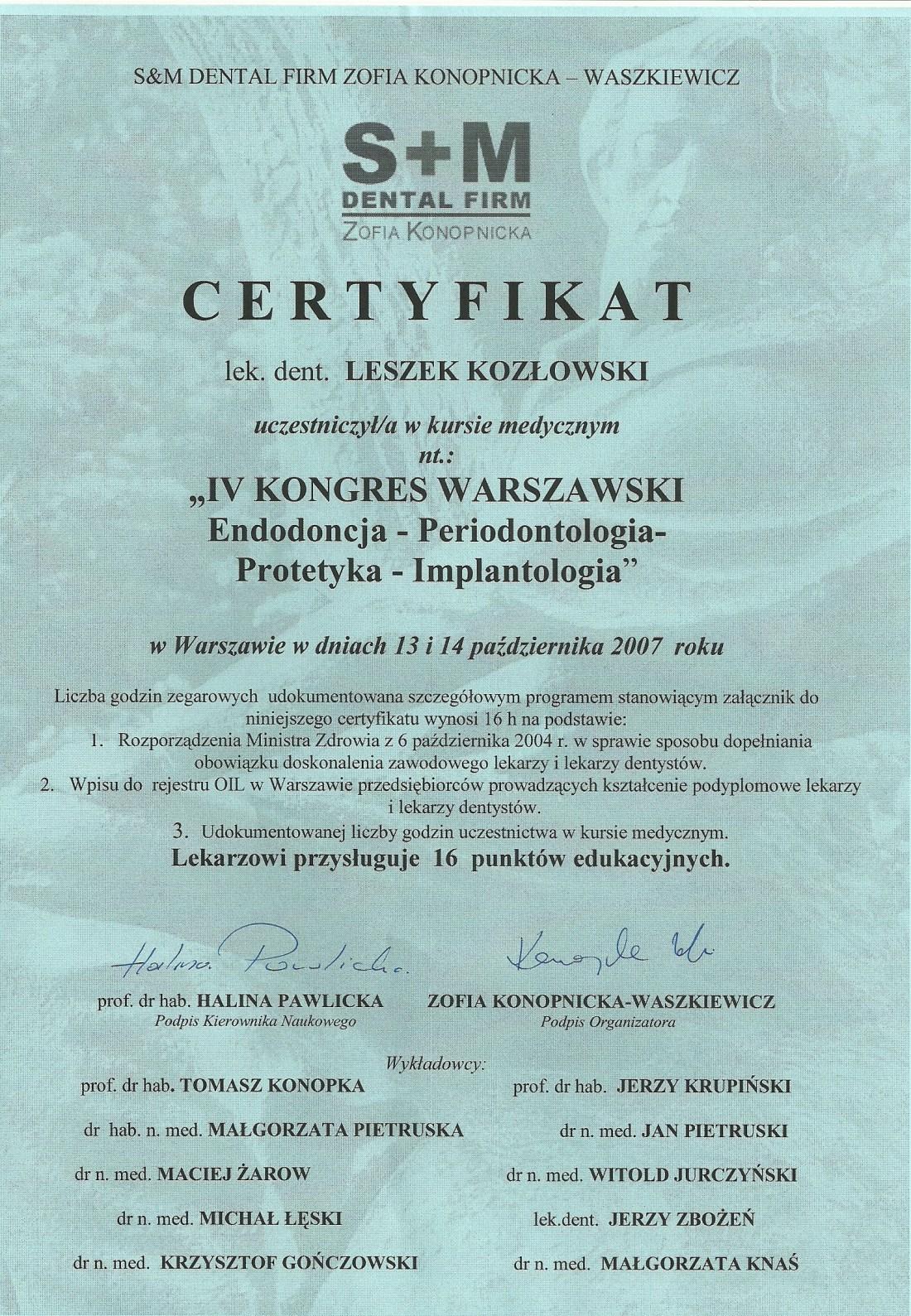 dentysta warszawa DENTYSTA WARSZAWA – DENTOKLINIKA Dentysta warszawa Leszek Kozlowski Certyfikat 2